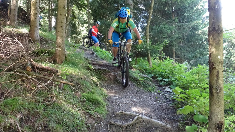 Etappe 3: Die offizielle MTB-Beschilderung im Tiroler Gschnitztal oberhalb Steinach weist diese Trailpassage als Schiebestrecke aus.