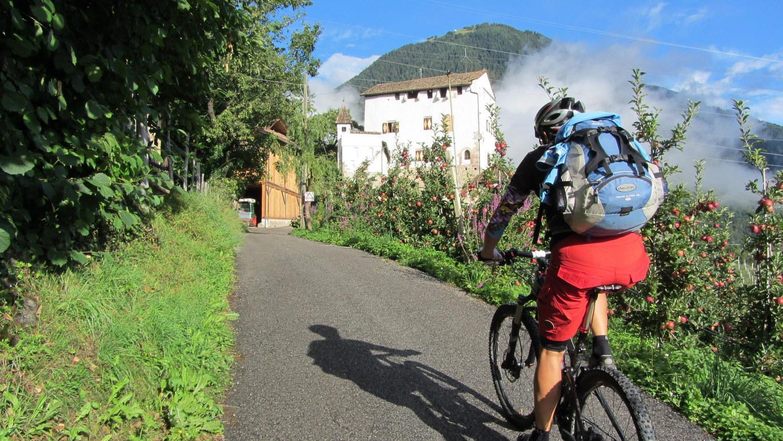 5. Etappe: Steile Rampe zum alten herrschaftlichen Ansitz Helmsdorf oberhalb von Lana Richtung Rateis